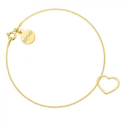 Złota bransoletka z serduszkiem, Sotho - Pakamera